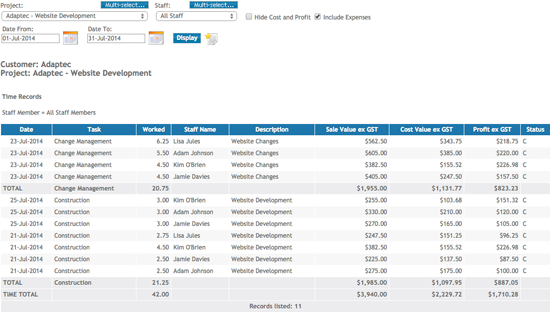 Product Releases – Sample Project Timesheet